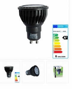National Electronics GU10 Black Line 6W 460 Lumen 40° warm w